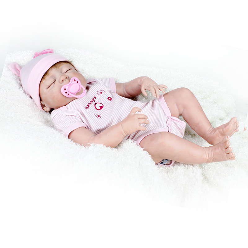 55cm Soft Full Body Silicone Reborn Dolls Girl Doll 22inch Lifelike BeBe Reborn Babies Toy Menina Bonecas Brinquedos With Basket in Dolls from Toys Hobbies