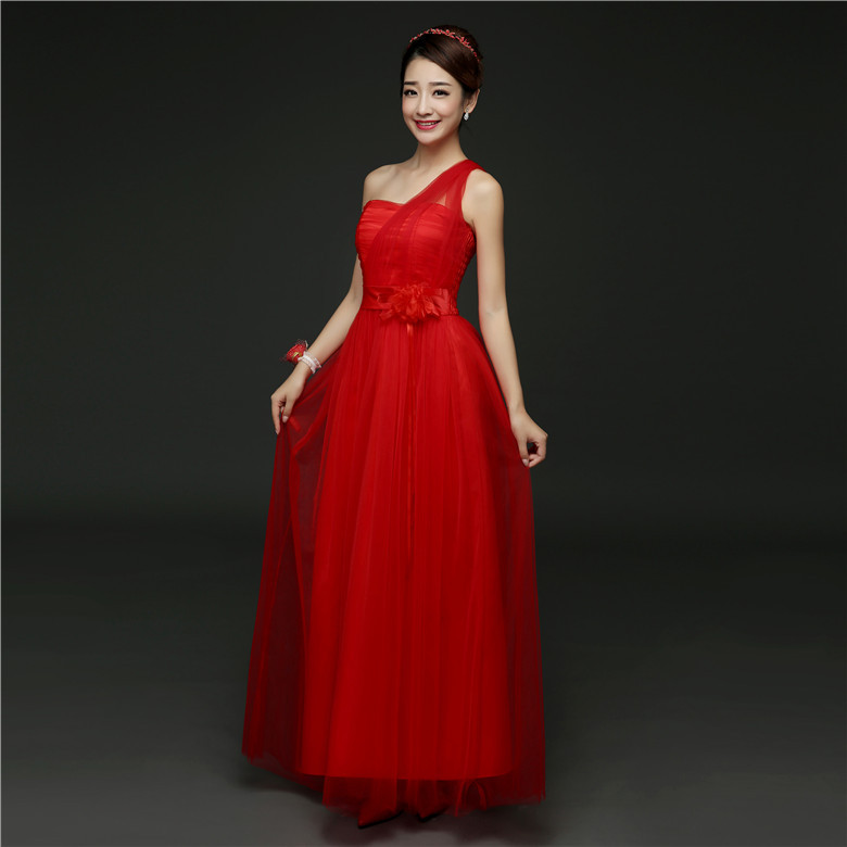 ZX568-H#Real Photos Wholesale 2019 New Fashion Show Banquet Toast Wedding Long Bridesmaid Dresses Cheap Rde