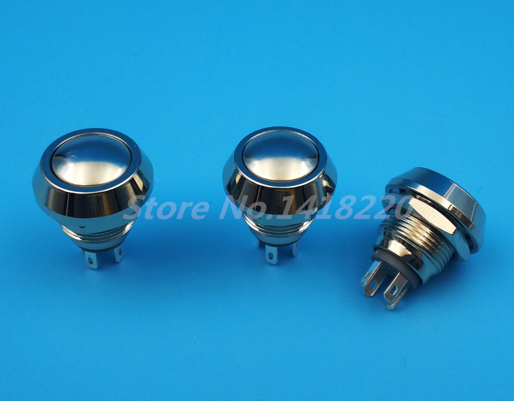 Free shipping 50Pcs Waterproof 12mm Metal 4Pin Momentary 1NO 1NC Mini Domed Push Button Switch 5pcs 12mm 3v blue led metal momentary 4pin mini push button switch 1no 2a 250vac
