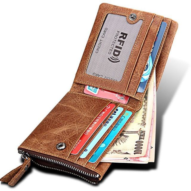 official photos cf038 79778 US $15.78 |Rfid Blocking Genuine Leather Credit Card Holder Wallet Top  Quality Zipper&Hasp Designer Mens Travel Wallets ID Card Protector-in  Wallets ...