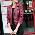 Asian Size 2016 Spring Autumn Women Leather Jacket Oblique Zipper Motorcycle Trendy Casual Faux Leather Solid Color Coat