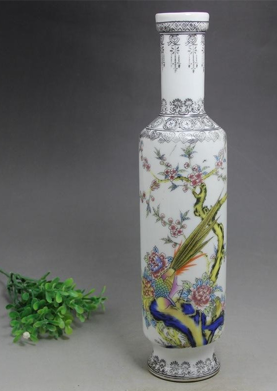 Antique porcelain crafts antique vase flower and bird painting miscellaneous Handmade Home Furnishing ornaments Bangchui bottles