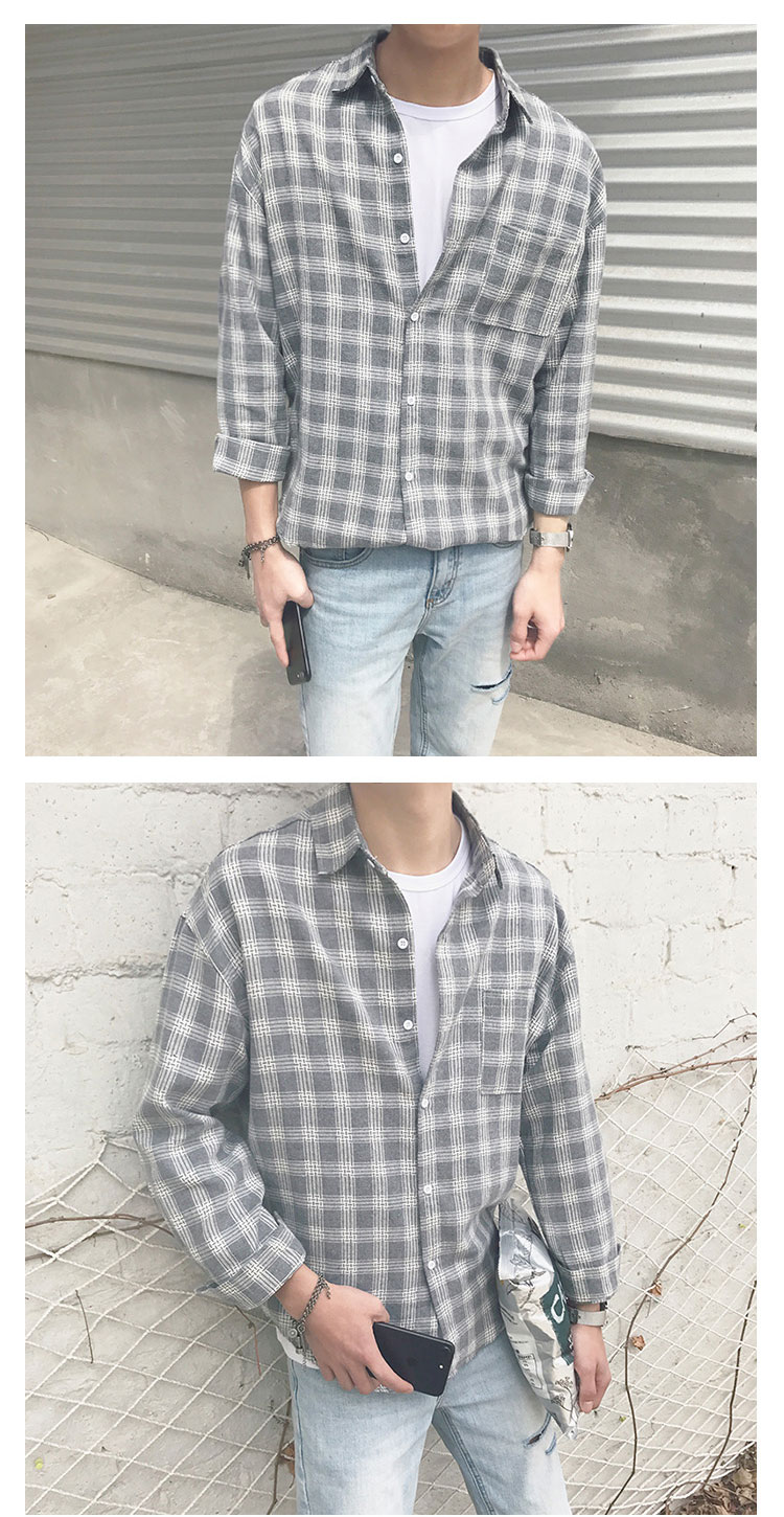 New Cotton Korean Style Clothe Fashion Streetwear Spring Summer Autumn Slim Fit Plaid Men Shirt Long Sleeve S-3XL