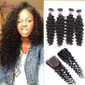 Unice Peruvian deep wave with closure 4 bundles Peruvian curly hair with closure kinky curly virgin hair with lace closure Soft