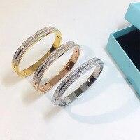Titanium Steel Rhinestone Women Wedding Bangle Brand Fashion Silver Color Rhinestone Bracelet Bangles Jewelry New Arrival