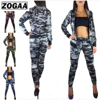 ZOGAA 2 Pieces Women Set Camouflage Training Suit Fitness Trousers Jacket Women Outfits Hoodie Top And Pant Tracksuit Women Sets