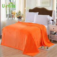 U Miss Super Soft Microplush Bed Blanket Printed Solid Pure Color Blanket Plaids Bedspreads Throw For