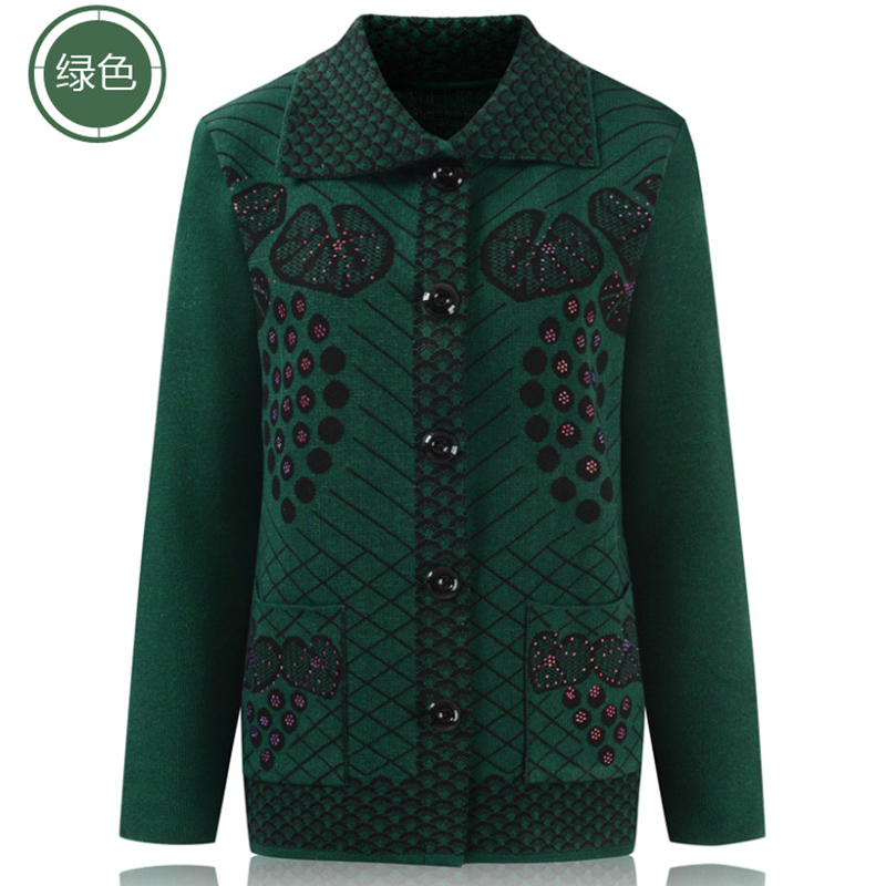 2018 Autumn middle-aged Female sweater cardigan mother jacket 60-70 plus size pocket printing wool coat women ODFVEBX HY537