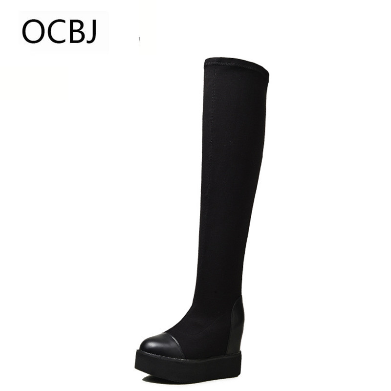 2017 New Autumn & Winter Women Knee-High Boots High Quality Slip-on Fashion Roman Style Women Boots Size 34-39 Black Color