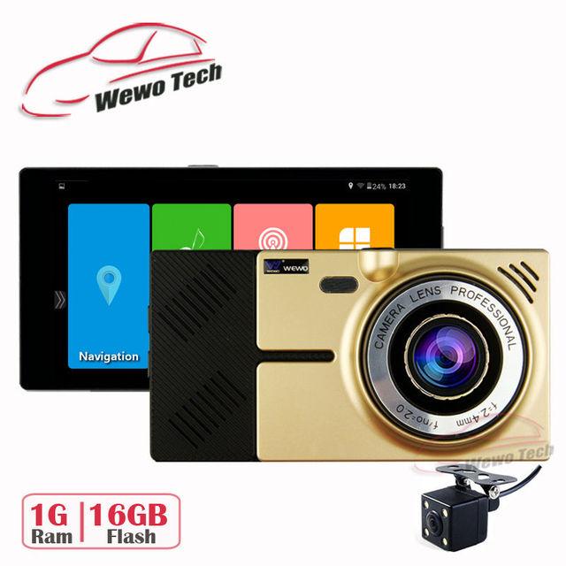 """5.0 """"Android Flash de Caminhão Do Carro de Navegação GPS 16 GB de Ram 1G DDR3 854*480 HD 1080 P Dvr Do Carro Câmera Dupla FM Sat Nav Frete Grátis"""