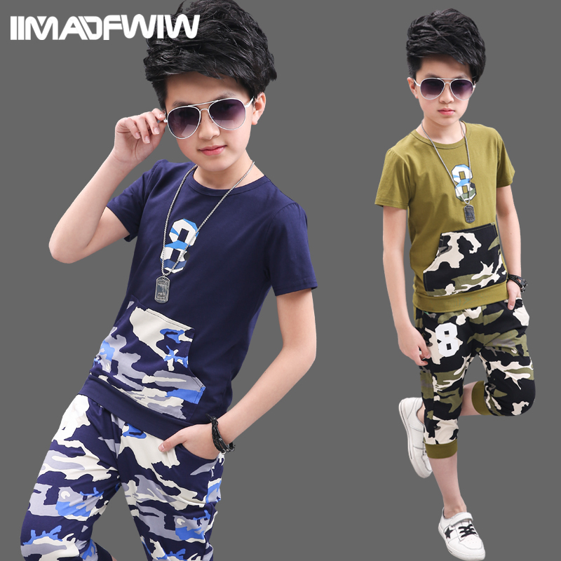 2017 new children's clothing boy summer suit children short-sleeved big child camouflage summer boy two-piece suit