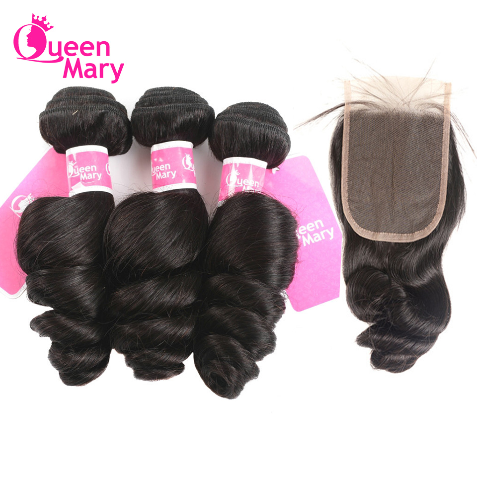 Loose-Wave-Bundles Human-Hair Queen Mary Closure Lace Brazilian with Non-Remy