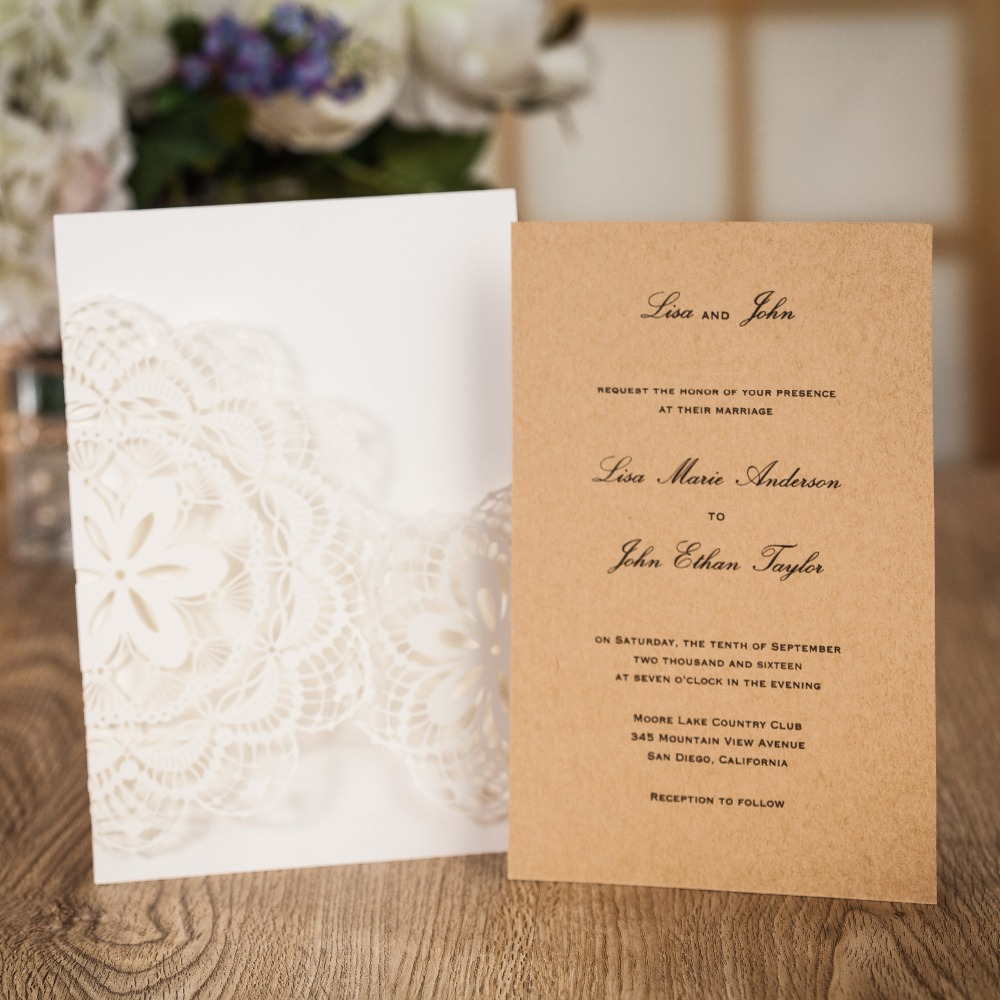 100pcs Wedding Invitations Wedding Cards Laser Cut Greeting Cards