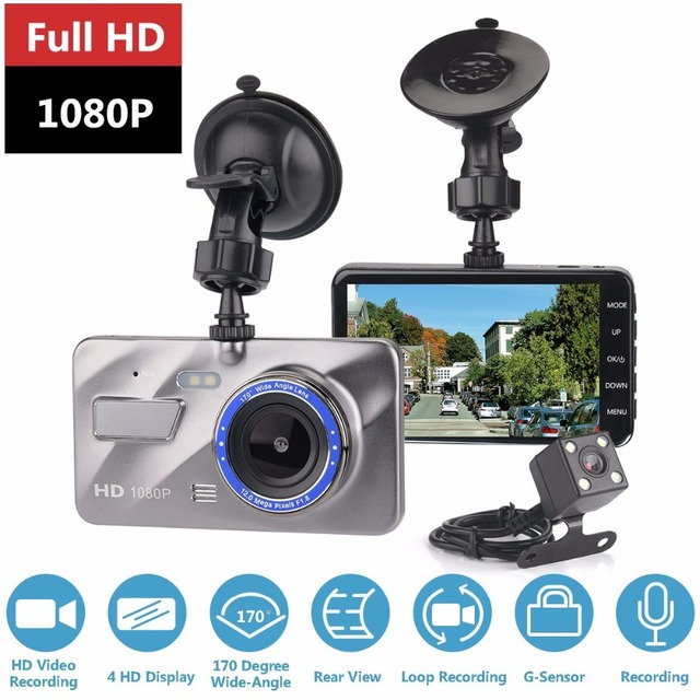 Dash Cam New Dual Lens Car DVR Camera Full HD 1080P 4″ IPS Front+Rear Blue Mirror Night Vision Video Recorder Parking Monitor