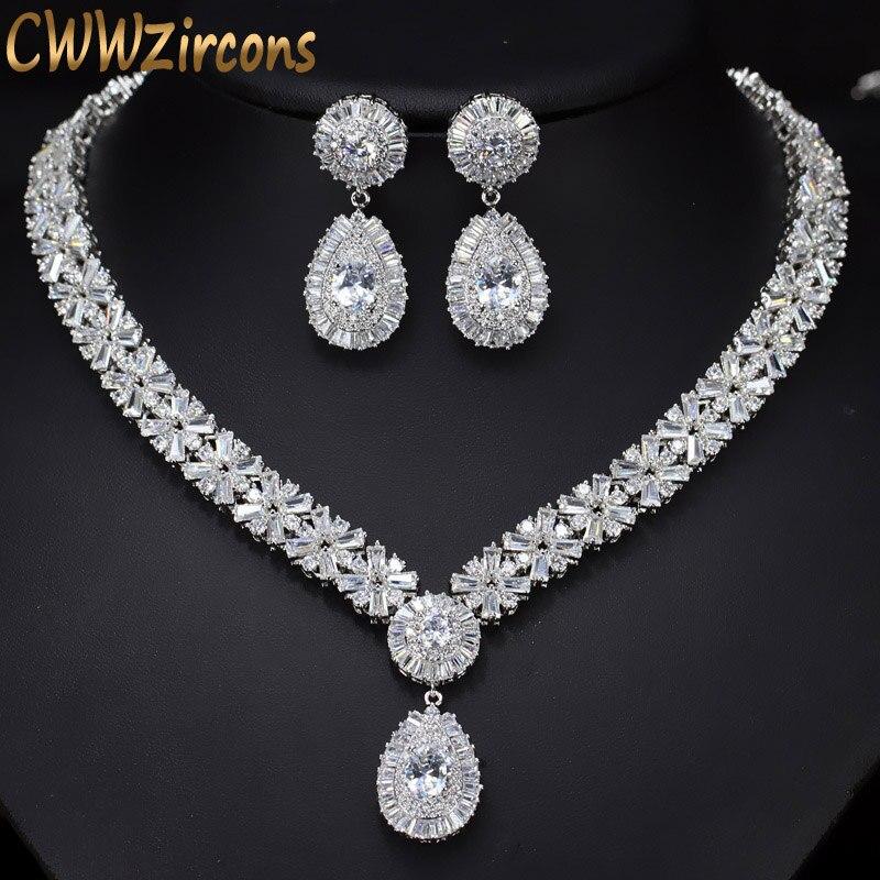 CWWZircons Cor de Ouro Branco De Noiva De Luxo Cristal CZ Colar e Brinco Definir Grandes Conjuntos de Jóias de Casamento Para Noivas T103
