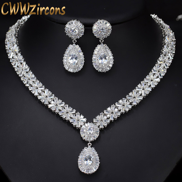 Cwwzircons white gold color luxury bridal cz crystal necklace and cwwzircons white gold color luxury bridal cz crystal necklace and earring set big wedding jewelry sets junglespirit Image collections