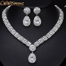 CWWZircons biały złoty kolor luksusowy Bridal CZ kryształowy naszyjnik i zestaw kolczyków duże ślubne zestawy biżuterii dla panien młodych T103