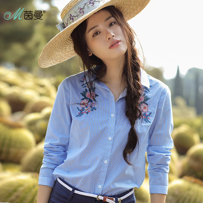 INMAN 2018 New Products Women Spring Clothes Embroidered Blue Striped Long Sleeves Women Blouses