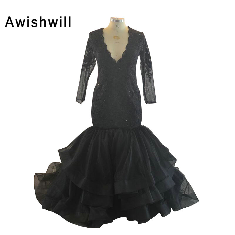 Robe Soiree Longue Black V-neck Lace Appliques Organza Long Sleeve Mermaid Dress Party Plus Size Formal Evening Gowns Dresses