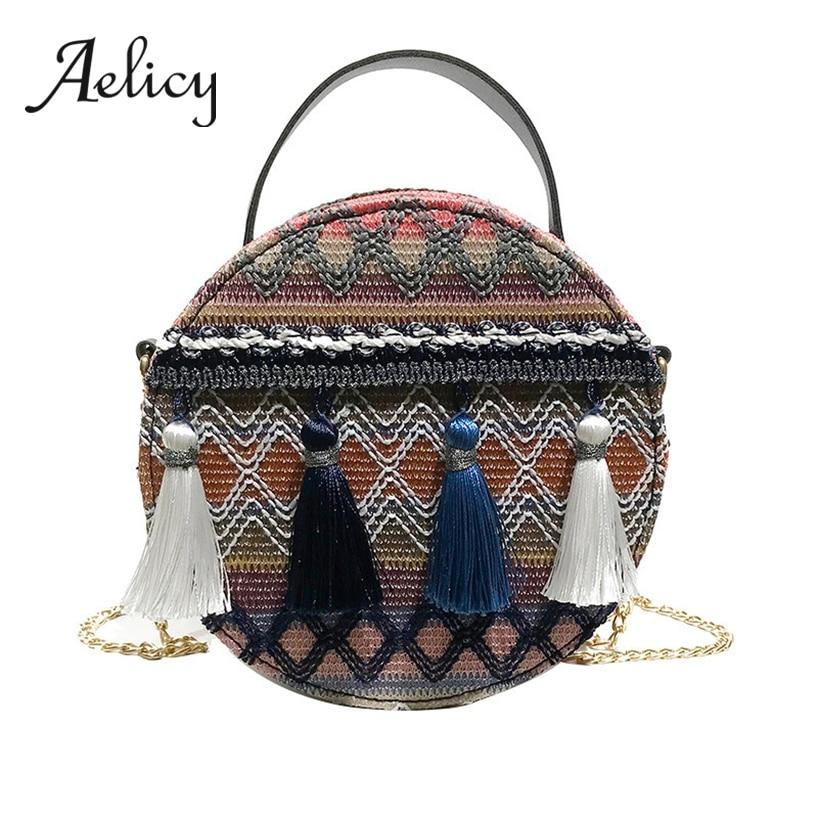 Aelicy Round Handbag Shoulder-Bags Chain Crossbody Tassel Ethnic Circle Women Weaving