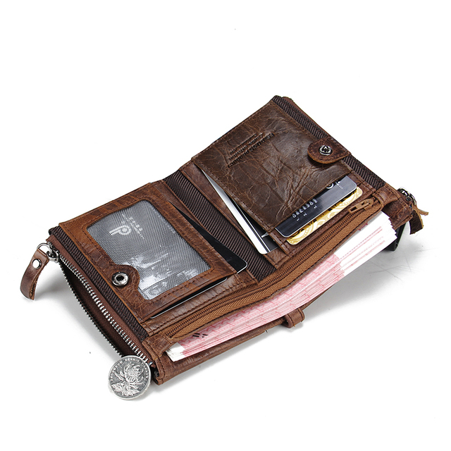 Genuine Crazy Horse Leather Men's Wallet. Several Colors Available