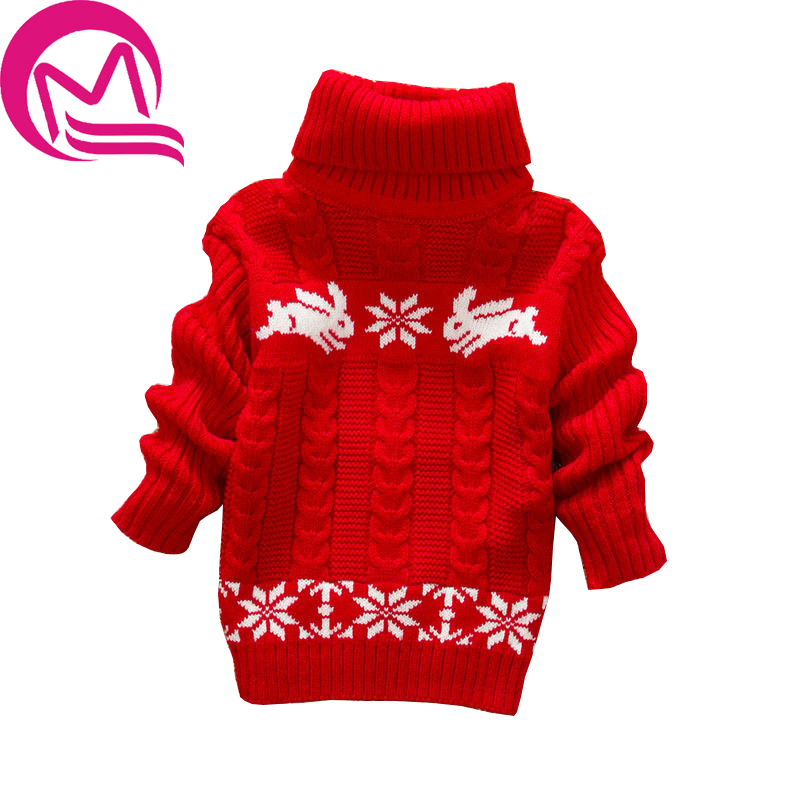 Baby Girls Autumn Sweater 2017 New Fashion Long Sleeve Turtleneck Clothes Children Winter Cartoon Knitted Outwear Casual Sweater