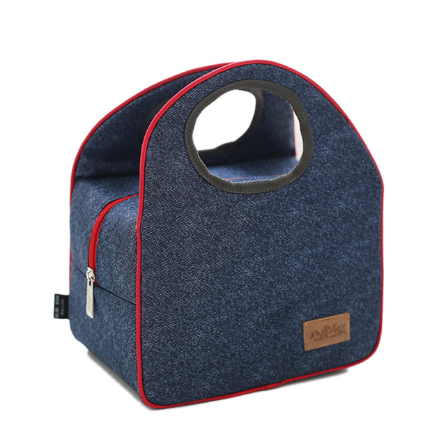 Wholesale retail fashion convenient Denim lunch box ice pack sac thermique isotherme Thermal meal thermos portable cooler Bags
