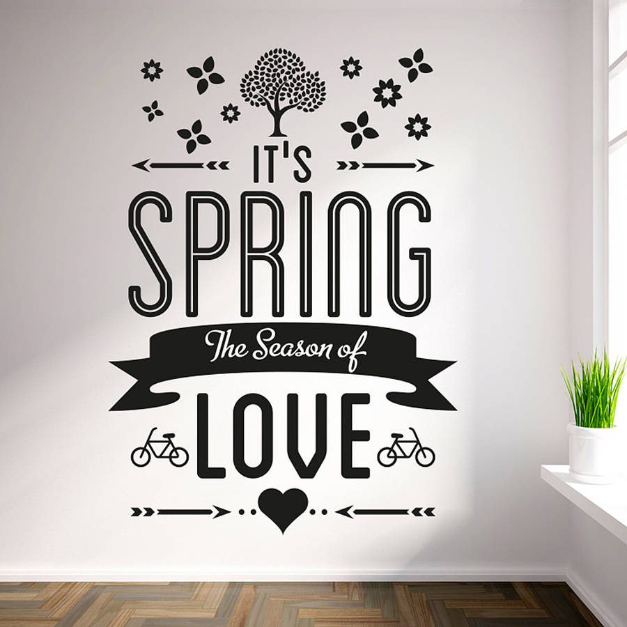 Sweet Decals 'It's spring the season of love' Vinyl Wall Art Stickers Three  Different Sizes Black Wall Sticker Home Decor ZA193-in Wall Stickers from  Home ...