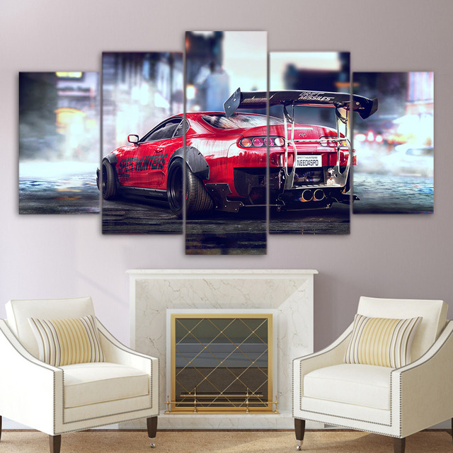 Poster Style Wall Modular Pictures Abstract Modern 5 Panel Red Cool Car For Living Room