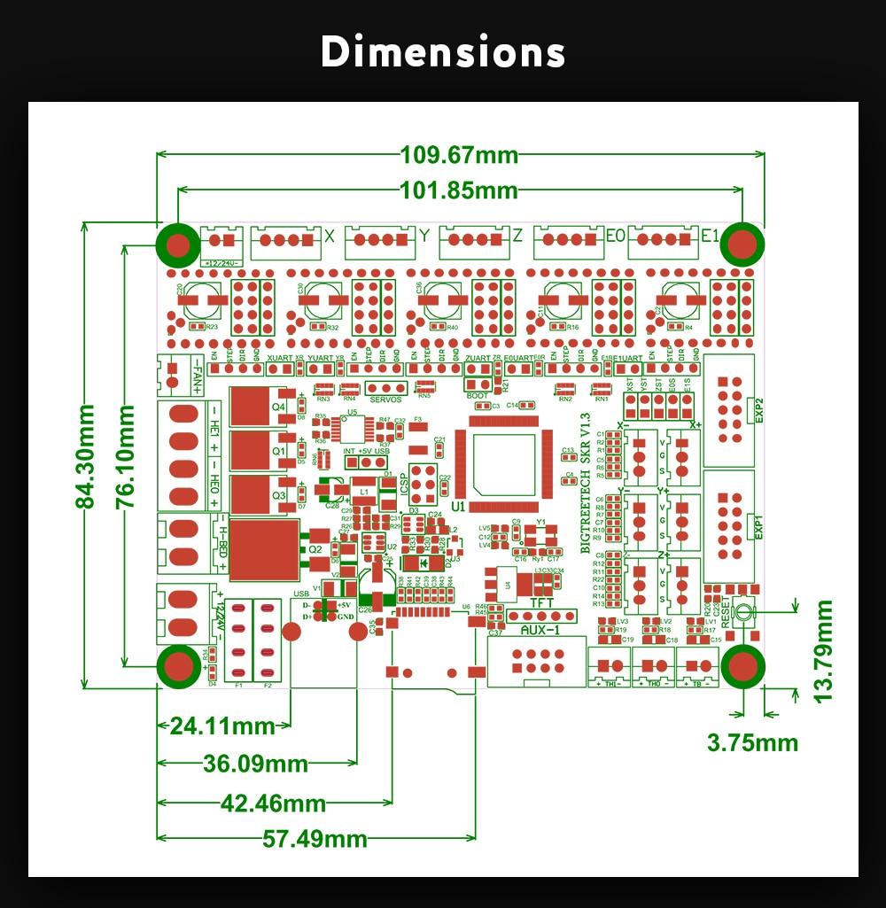BIGTREETECH-SKR-V1_04 dimensions
