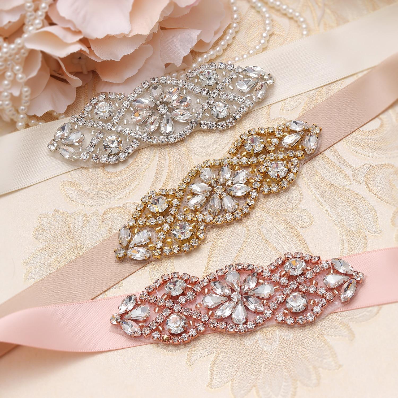 MissRDress Hand Beaded Wedding Belt Silver Crystal Bridal Sash Rhinestones Bridal Belt For Wedding Party Porm Gown JK853