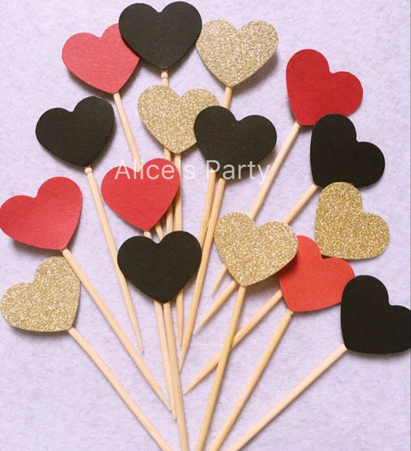 Gold Red Hearts Cake Toppers 50 Wedding Cake Decoration Baby Shower  Arrangement For Mickey Themed Party