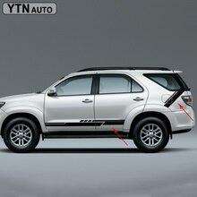 car stickers 4pc side door quarter panel decals graphic vinyl stripe grid body sticker custom for toyota SUV FORTUNER