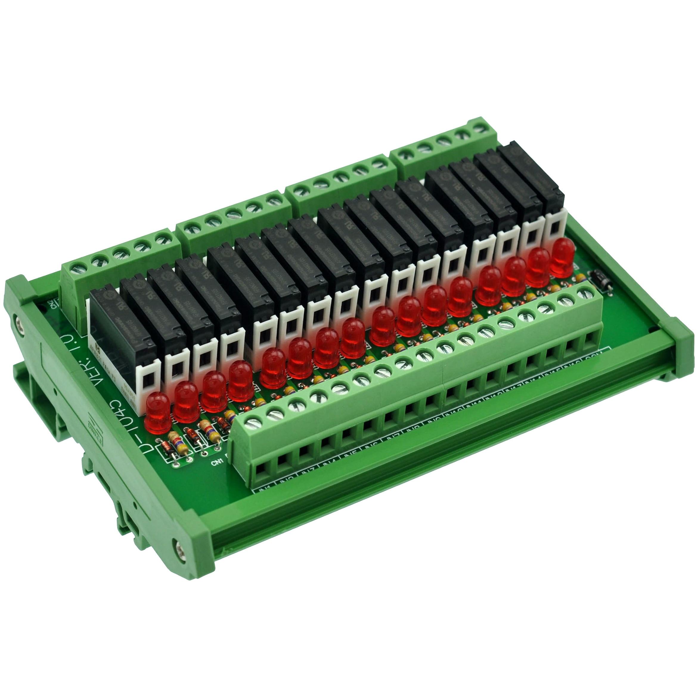 Slim DIN Rail Mount DC5V Source/PNP 16 SPST-NO 5A Power Relay Module, APAN3105