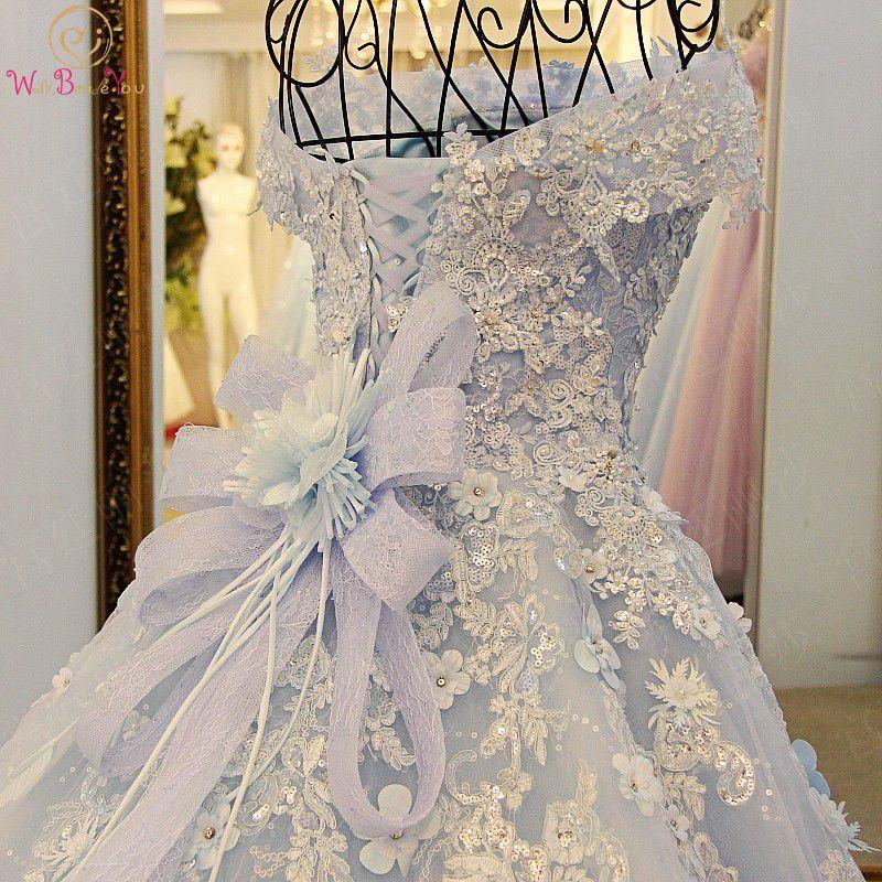 Walk Beside You Prom Long Elegant Dresses Light Blue Lace Appliques Chapel Train Beaded Off Shoulder Ball Gown Evening Dresses