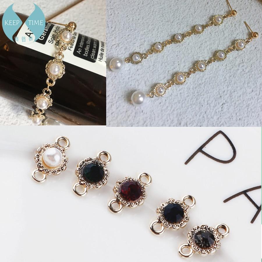 DIY Handmade Jewelry Accessories Korea Alloy Diamond Pendant Earrings Earrings Vintage Double Hanging Pendant Necklace Bracelet