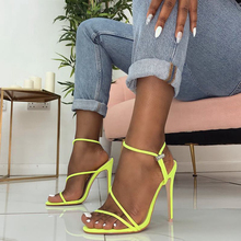 Jinsen Aite Women Sandals Ankle Strap Thin High Heels Sexy Party New Summer Fashion Larger Size Slip-On lady Shoes JS816