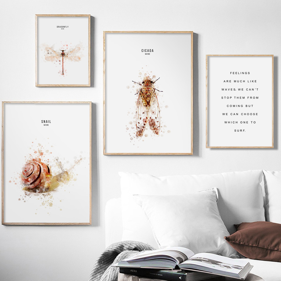 Watercolor Snail Dragonfly Cicada Quotes Wall Art Canvas Painting Nordic Posters And Prints Wall Pictures For Living Room Decor in Painting Calligraphy from Home Garden