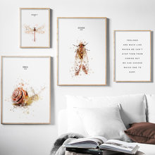 Watercolor Snail Dragonfly Cicada Quotes Wall Art Canvas Painting Nordic Posters And Prints Wall Pictures For Living Room Decor(China)