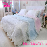 4pcs/set Quilted bedding set 3 colors ruffle duvet cover lace bedspread bed skirt type wedding decoration luxury korean bedding