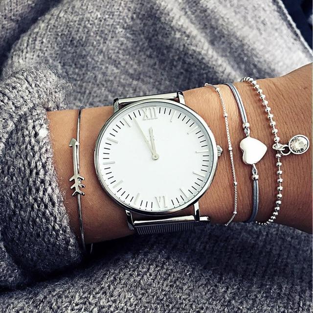 Tocona 4pcs/Set Bohemian Heart Arrow Bangle Sets Crystal Bangle for Women Charming Silver Hand Cuffs Bracelet Femme 4277