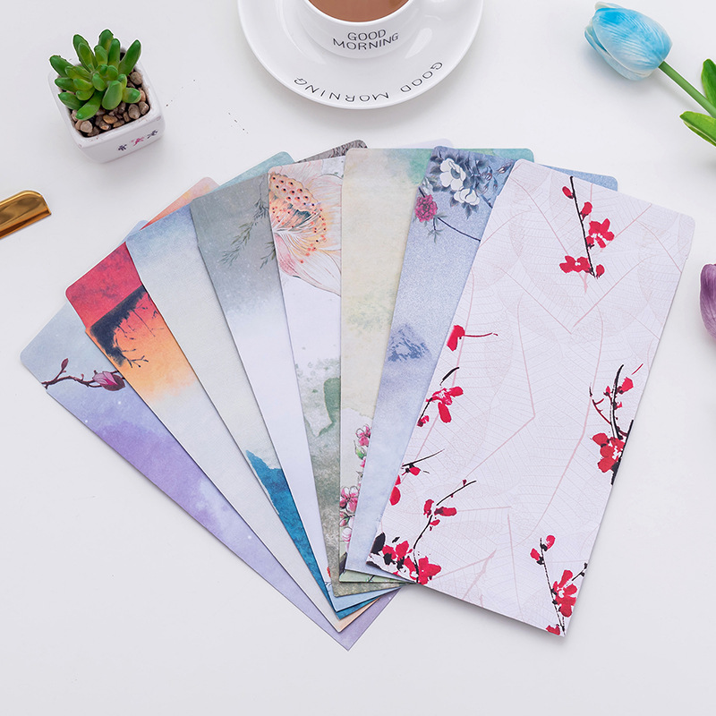 10Pcs/Pack New Chinese Classic Painting Mini Greeting Card Postcard Birthday Letter Envelope Gift Card Set Message Card E0401