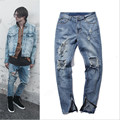 2016 Men's Yeezy Ripped jeans With Zipper Skinny Cool Slim Fit Mens Yeezy Kanye West Jeans Urban Jeans Pants For Men