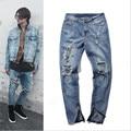 Yeezy 2016 homens jeans Rasgado Com Zipper Magro Magro Legal Fit Mens Yeezy Kanye West Calça Jeans Calça jeans Urbana Para homens