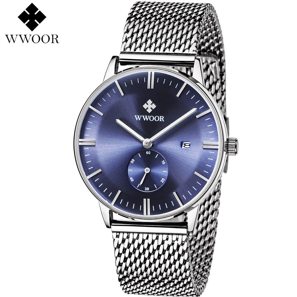 все цены на Men's Watches Brand WWOOR Quartz Watch Men Silver Steel Mesh Strap Casual Sports Wrist watch ultra Date Clock Male Waterproof