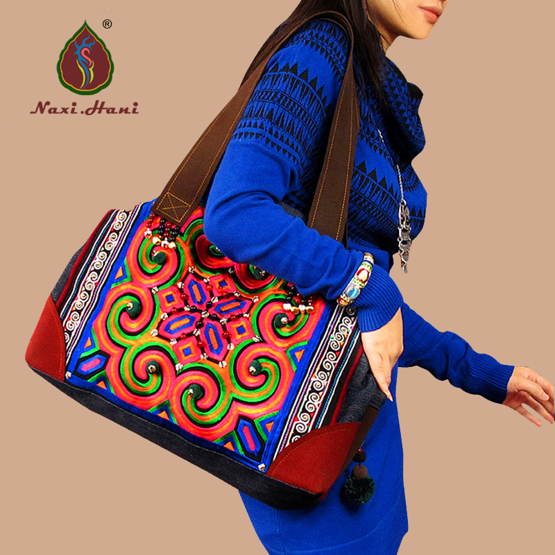Newest High quality Ethnic embroidery women handbags Vintage handmade beading blue denim Casual shoulder bags