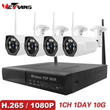 Wetrans CCTV Camera System Security 1080P HD H.265 Wireless IP Camera P2P NVR Wifi Surveillance Kit 4CH IR Night Vision Cam Set