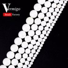 Free Shipping Smooth White Tridacna Stones Round Loose Beads Natural Stone Ball For Needlework Jewelry Making Diy Bracelet
