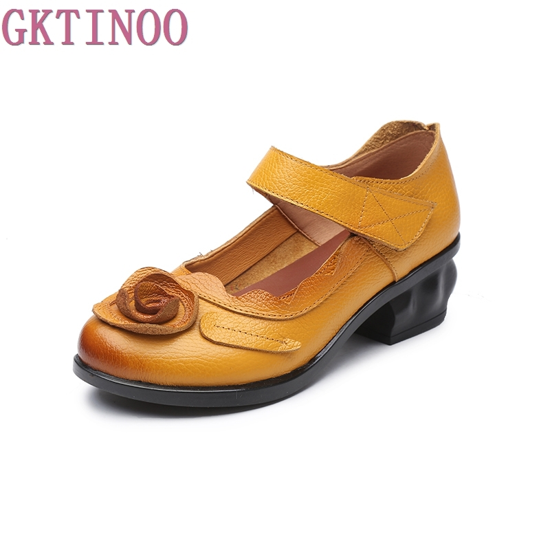GKTINOO 2018 Retro Style Handmade Leather Shoes Women Thick With Heels Flowers Pumps Round Toe High Heels yaerni 2017 retro style women shoes flats platform handmade flower genuine leather thick heels round toe women causal shoes