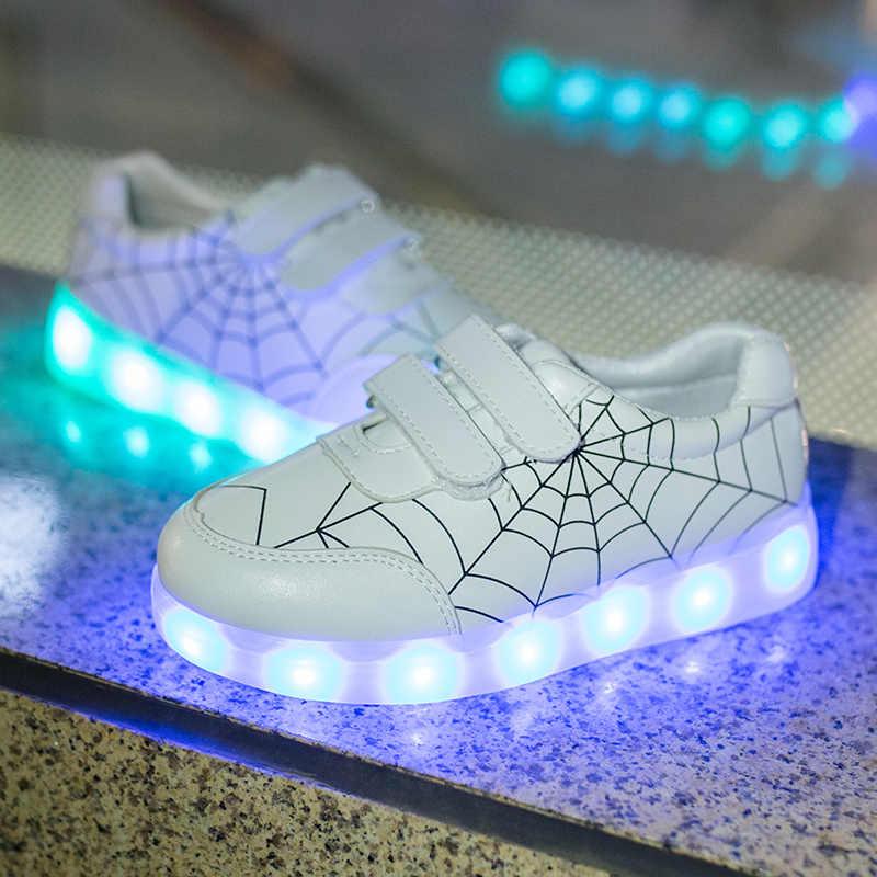 KEYITODO เด็กสีสันรองเท้ารองเท้าชาร์จ USB รองเท้า LED รองเท้าผ้าใบกระพริบรองเท้าส่องสว่างรองเท้า 22-35 336